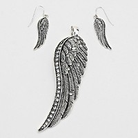 Silver Burnished Crystal Accented Angel Wing Magnetic Pendant Set