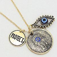 """PROTECT"" Hamsa Medallion Pendant Necklace"