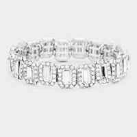 Emerald Cut Crystal Rhinestone Pave Evening Bracelet