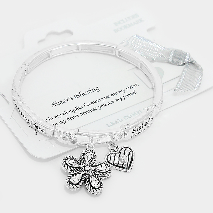 "OUT OF STOCK-Antique Silver ""Sister's blessing"" heart charm stretch bracelet"