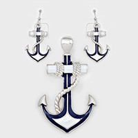 OUT OF STOCK-White, Silver, Navy Anchor Pendant Set