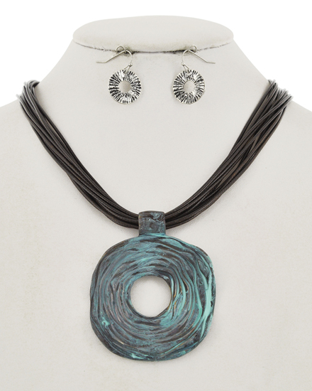 OUT OF STOCK-Patina Open Round Necklace & Earring Set