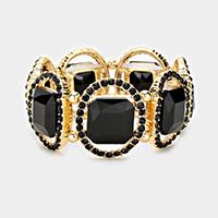 Jet Black, Gold Pave oval trim glass crystal stretch bracelet