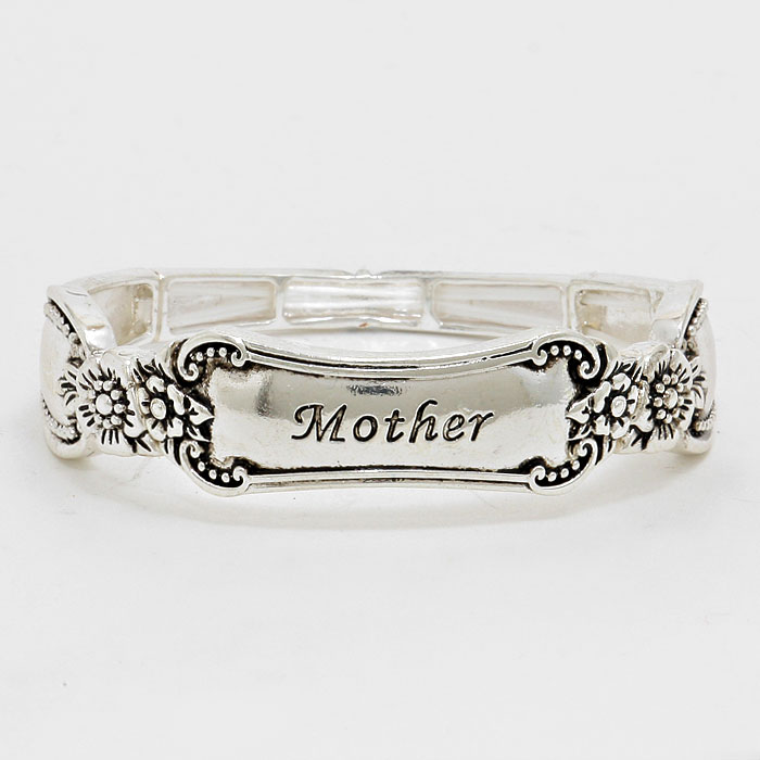 """Mother"" Silver Burnished  Stretchable Bracelet"