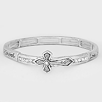 "OUT OF STOCK-Silver Burnished ""Fruit of the Spirit"" Cross Stretch Bracelet"