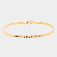 "Gold ""Love"" thin metal hook bracelet"