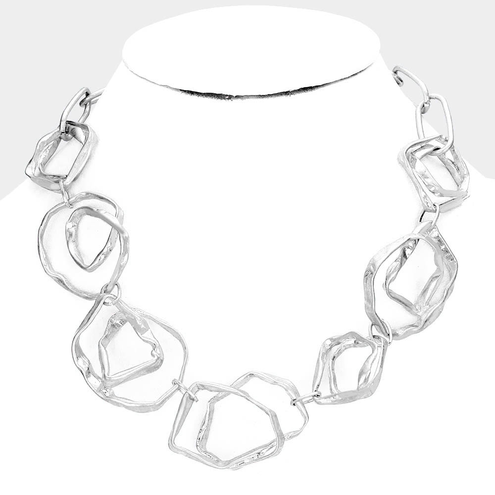 SOLD OUT- Abstract Silver Link  Necklace Necklace & Earring Set