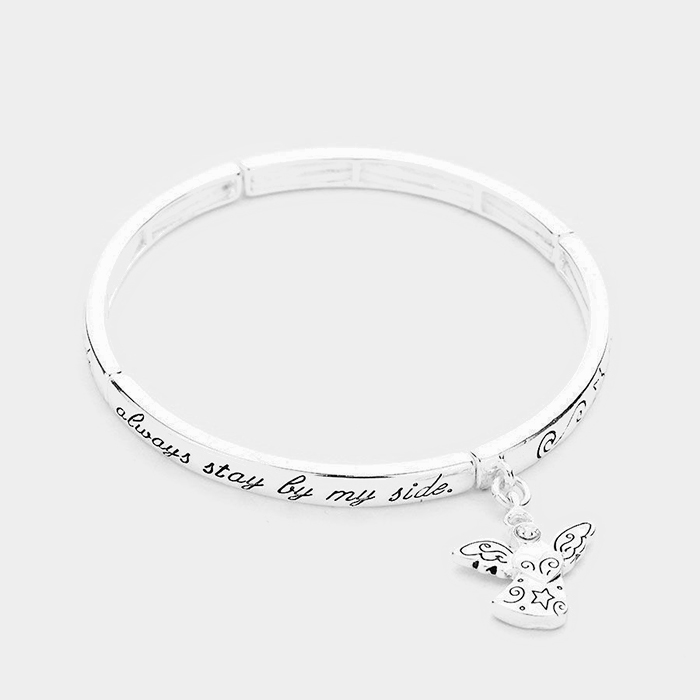 "Silver ""Guardian Angel"" Angel Charm Stretch Bracelet"
