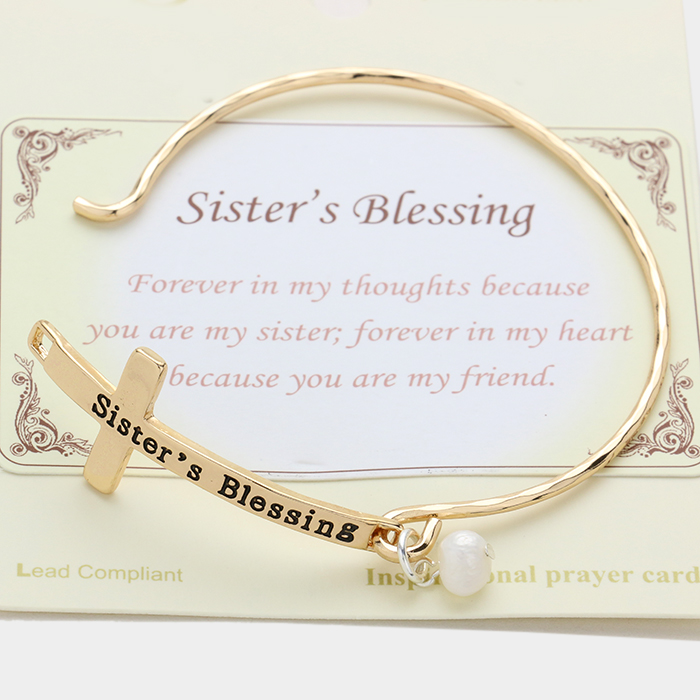 "Cream, Antique Gold ""Sister's blessing"" cross hook bracelet with pearl charm"