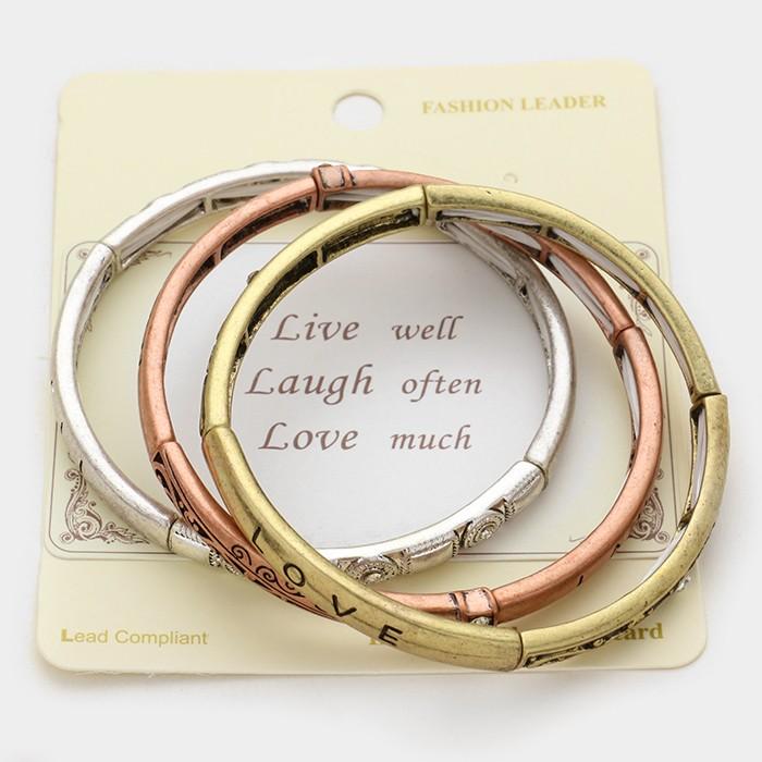 "3 PCS - ""Live Love Laugh"" message stack stretch bracelets"