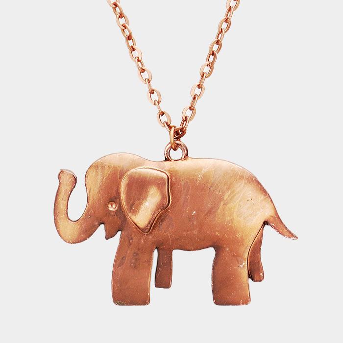 Elephant pendant Copper long necklace