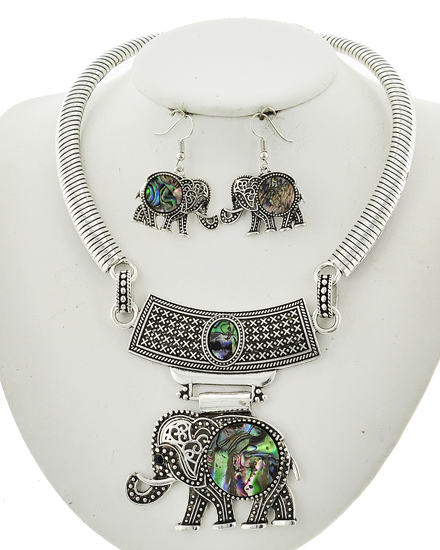 Antique Silver & Abalone Shell Necklace & Earring Set