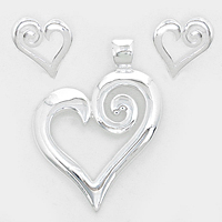 OUT OF STOCK-Silver Metal Heart Pendant & Earrings