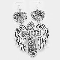 "Antique Silver Faith"" metal cross & wings magnetic pendant set"