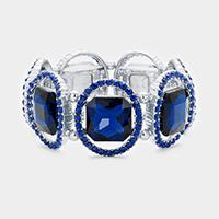 Rhodium & Navy Pave oval trim glass crystal stretch bracelet