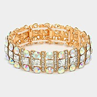 OUT OF STOCK-Gold Square Crystal Rhinestone & Bubble Cluster Stretch