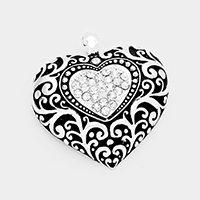 Antique Silver  Stone Embossed Antique Heart
