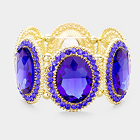 Gold & Sapphire Marquise Oval Crystal Evening Stretch Bracelet