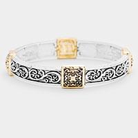 Clover Pattern Textured Antique Metal Stretch Bracelet
