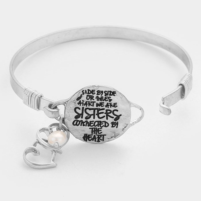 "OUT OF STOCK-Silver Burnished  ""We are sisters connected by the heart"" double heart charm hook bracelet"