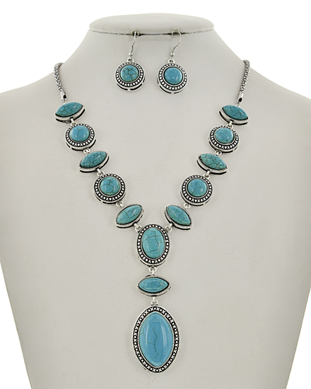Antique Silver ToneY-neck Necklace & Earring Set