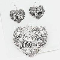 "Antique Silver  ""Hope"" heart pendant & Earrings"