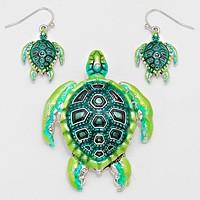 Green, Silver Burnished Turtle Pendant Set