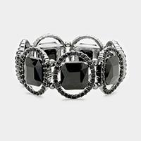 Jet Black & Black Pave oval trim glass crystal stretch bracelet