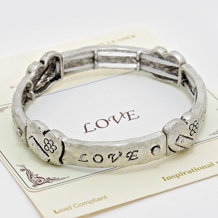 """Silver """"Love"""" Message Stretch Bracelet"""
