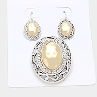 Silver &Gold Crystal trim two tone oval metal pendant set