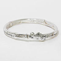 "OUT OF STOCK-Matte Silver ""Angel Blessing"" Heart Stretch Bracelet"