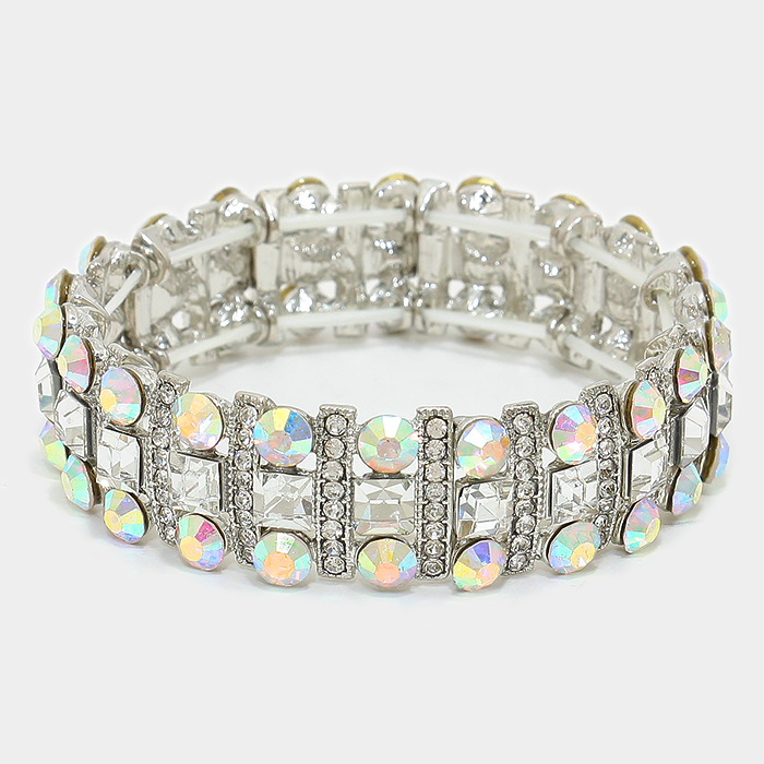OUT OF STOCK- Clear Square Crystal Rhinestone & Bubble Cluster Stretch
