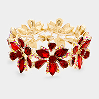 Gold, Red Marquise Floral Crystal Stretch Evening Bracelet