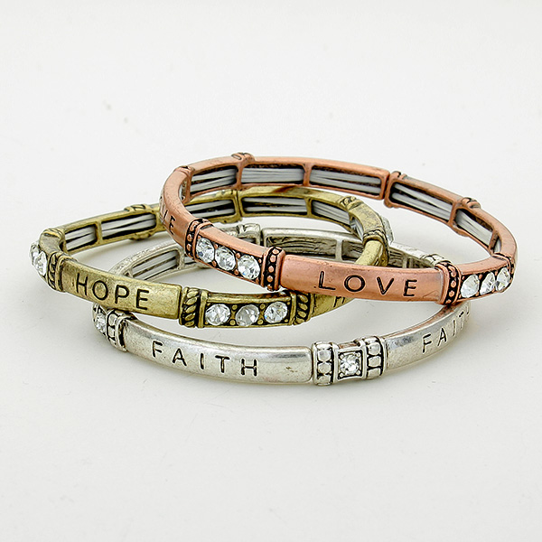 """Love Hope Faith"" Stretch Stack Bracelet"