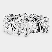 Open Embossed Metal Elephant Cuff Bracelet