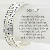 """Silver  3 Layered """"Sister"""" Stretch Bracelet"""