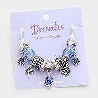 December _ Multi-bead birthstone heart charm bracelet