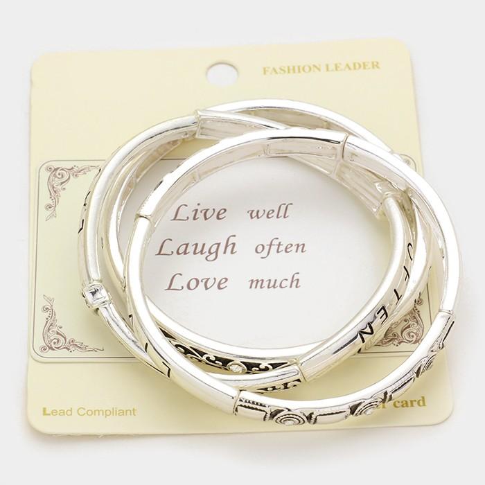 """3 pc.  Antique Silver  - """"Live Love Laugh"""" message stack stretch bracelets"""