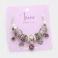 June Multi-bead birthstone heart charm bracelet