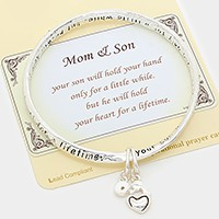 "Antique Silver""Mom & Son"" Heart Charm   Bracelet"