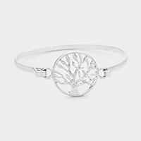 Worn Silver Tree of Life Metal Hook Bracelet