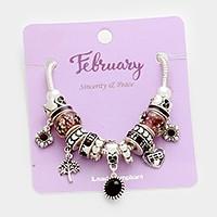 February Multi-bead birthstone charm bracelet