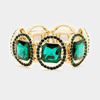 Green, Gold Pave oval trim glass crystal stretch bracelet