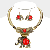 Antique Gold & Red Stone Necklace & Earring Set