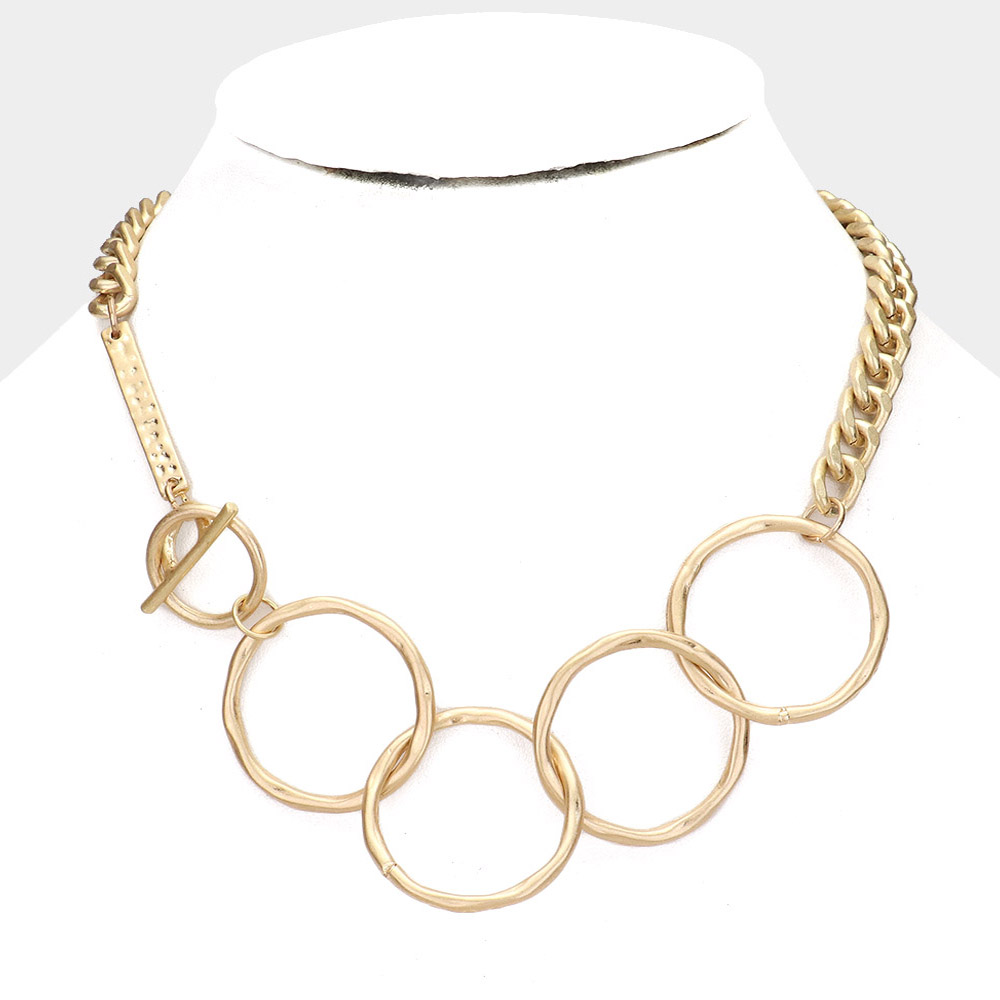 Worn Gold Metal Open Circle Toggle Chain Necklace