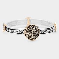 Patterned Antique Metal Stretch Bracelet