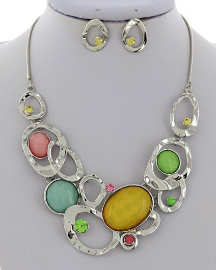 Patina & Multi Tone Graduating Necklace & Earrings
