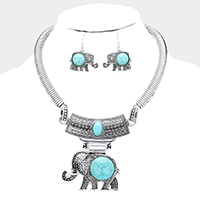Silver &Turquoise Embossed Metal Elephant Pendant Necklace