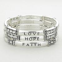 "Stretchable  3 Layers Bracelet  ""Love Hope Faith"" Stretch Stack Bracelet"