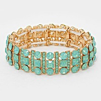 OUT OF STOCK-Gold & Mint Square Crystal Rhinestone & Bubble Cluster Stretch